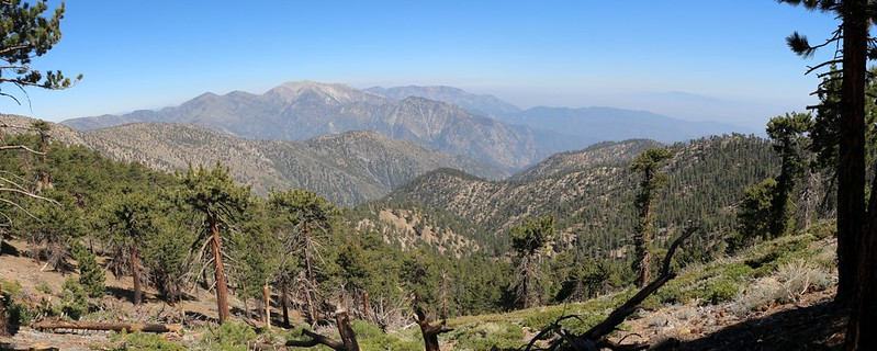 Panorama view southeast from the southwest ridge of Throop Peak on the PCT