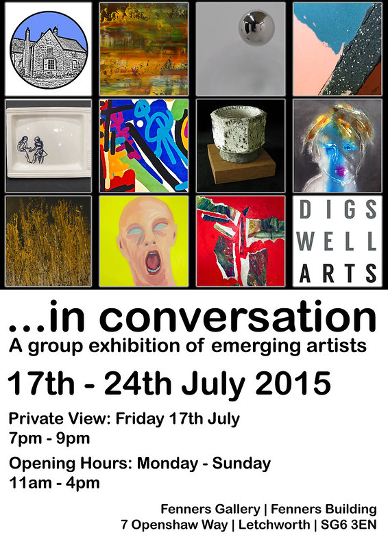In conversation - 17th to 24th July  2015. PV 7pm - 9pm 17th July, Fenners Gallery, Letchworth, SG6 3EN