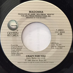 MADONNA:CRAZY FOR YOU(LABEL SIDE-A)