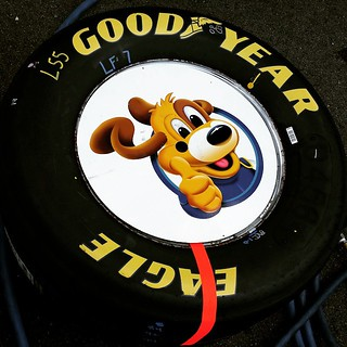 "I was wondering if they would notice if one of their tire plates ""disappeared"" :) #nhms #nascar #5hourenergy301 #aaronsdreammachine #goodyear #tire #letsgoracing #sprintcup #racingtires #LuckyDog"