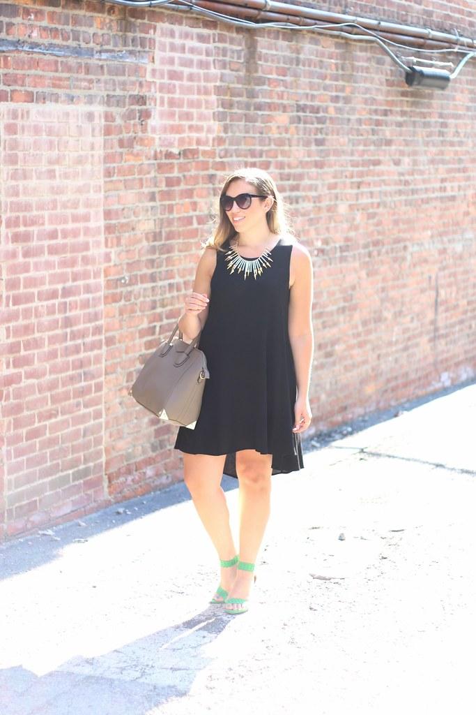 Black Trapeze Dress and JustFab Green Sandals