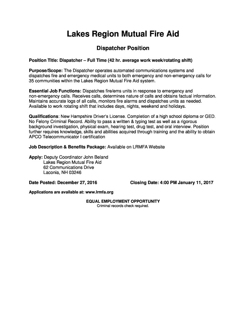 DISPATCHER JOB OPENING — Fire Mutual Aid