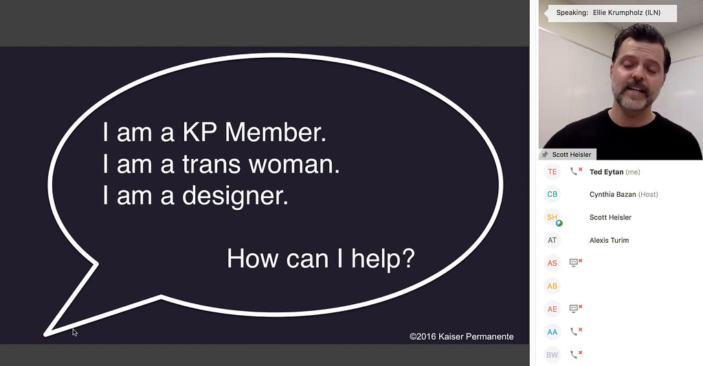 I am a KP member. I am a trans woman. I am a designer. How can I help?