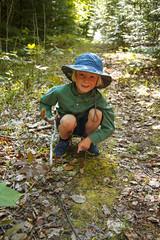 young mushroom hunter