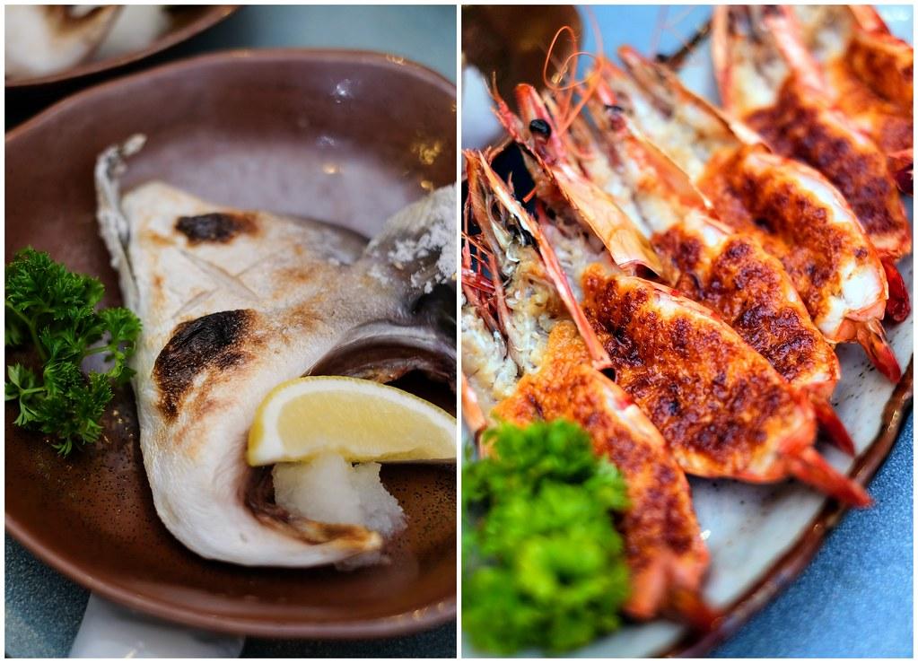 ikoi日本餐厅的kama shioyaki和烤奶酪虾