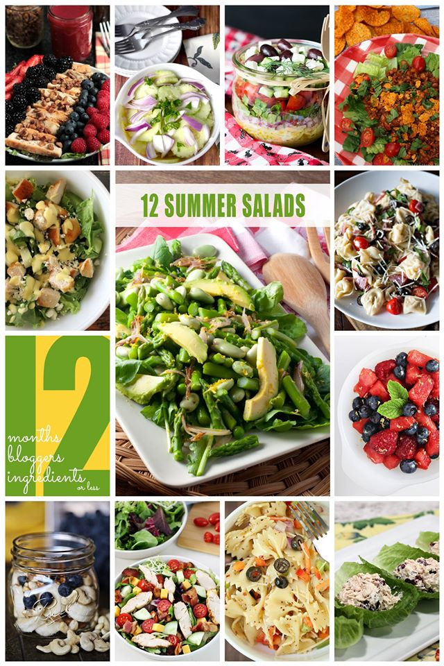 12 summer salads collage.