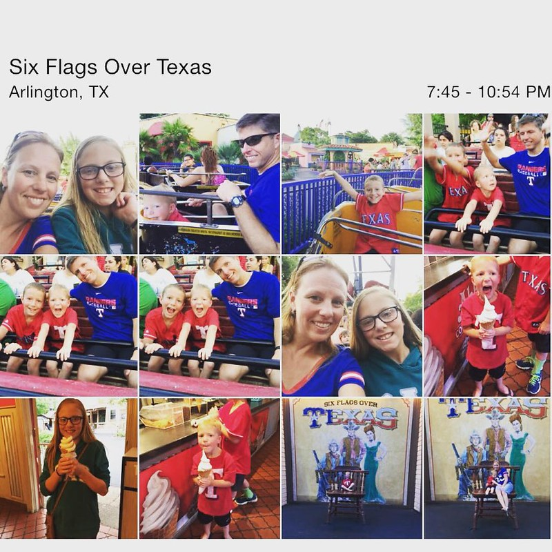 We've been meaning to get to a Rangers game. The stars aligned with the schedules and we headed to the ball park. Too bad they don't play today. So we went to six flags instead. #planning fail