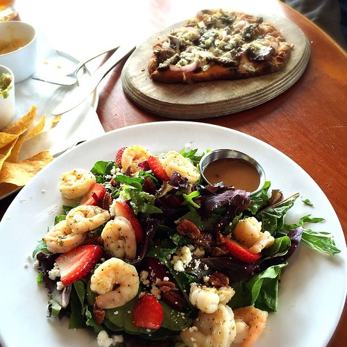 Shrimp salad and flat bread