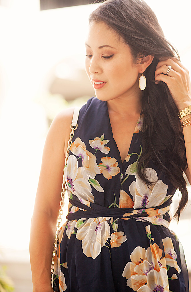 cute & little blog | petite fashion | navy floral romper, kenra scott 'elle' white earrings
