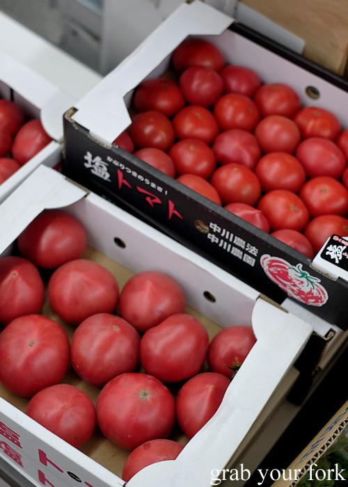 Ripe tomatoes at the morning market in Kagoshima, Kyushu