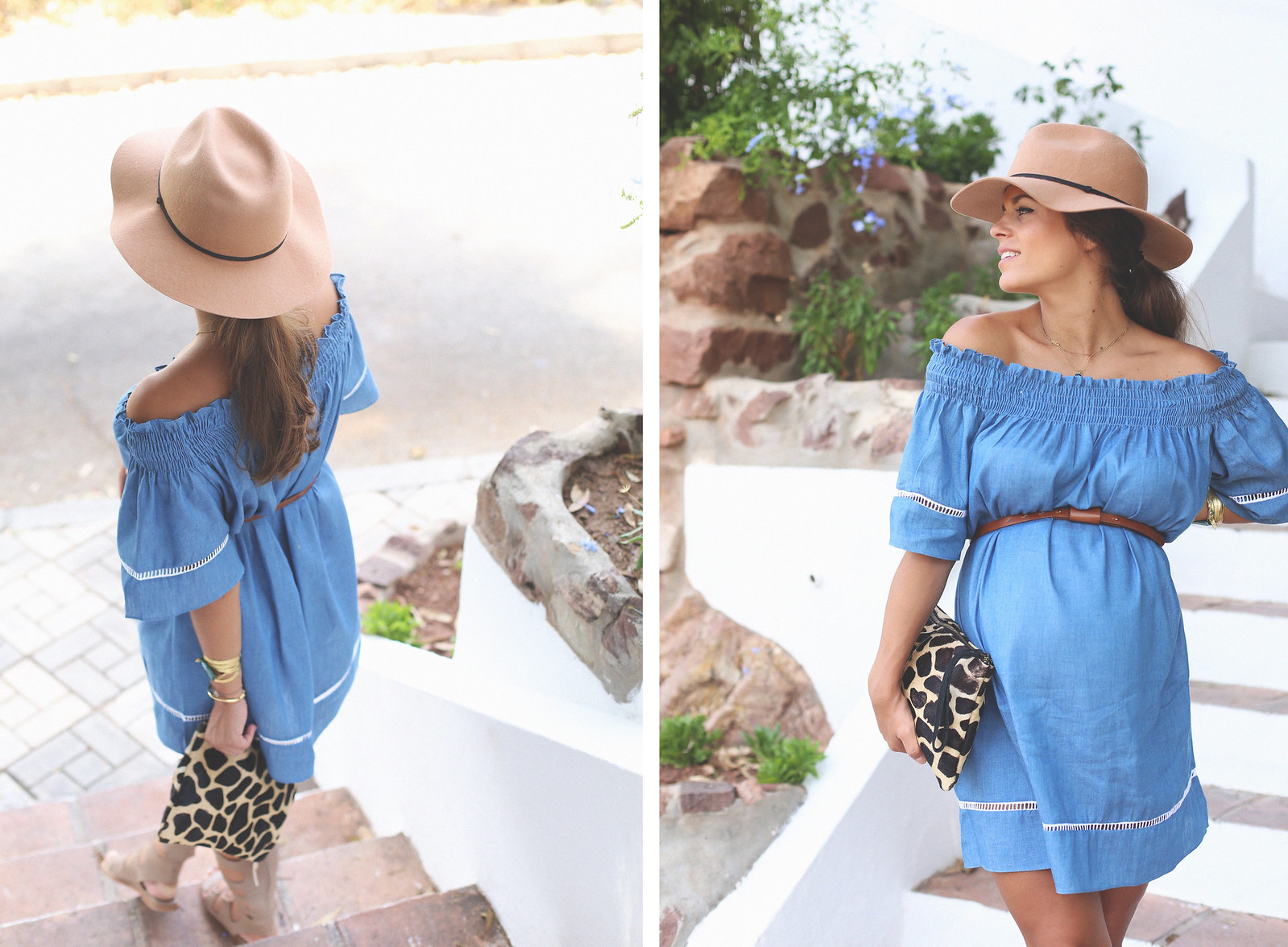 2. off shoulders denim dress - jessie chanes - pregnancy