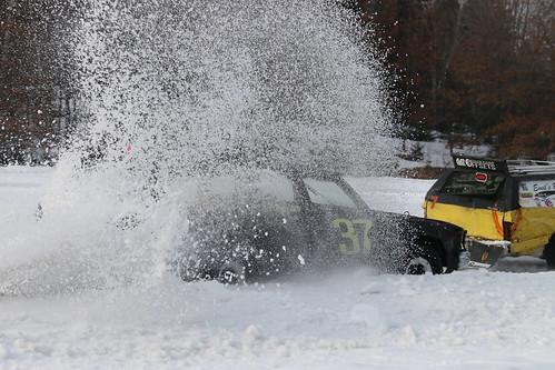 2.11.17 Tilleda Thunder - 37 Nate Michonski using the snow wall as a cushion