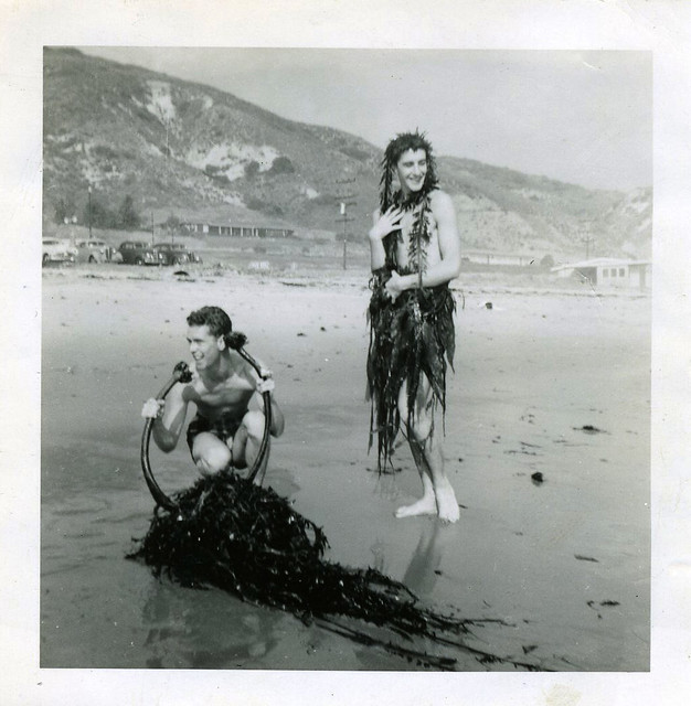 Tom Douglas and Kenneth MacMillan on Malibu Beach during Sadler's Wells Ballet US tour in 1950 © ROH Collections