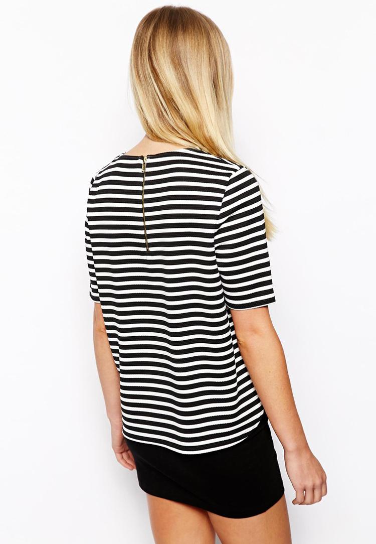 New Look Petite Textured Stripe Boxy Tee