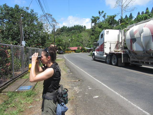 Due to bridge washout on the main route from SJ to Limon, hundreds of semis are on the road next to the school everyday