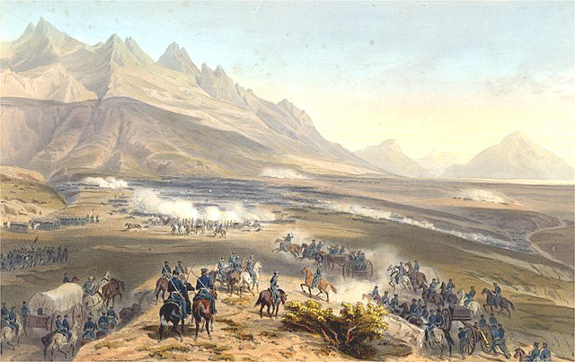 Battle of Buena Vista during the Mexican-American War, painting by Carl Nebel