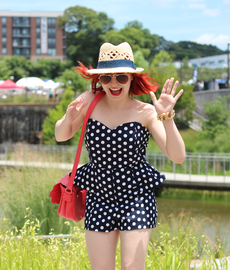 Polka Dot Peplum Romper, Straw Hat, Aviators, and Bright Red Hair