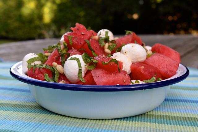 Watermelon & Mozzarella Salad with Mint & Pine Nuts
