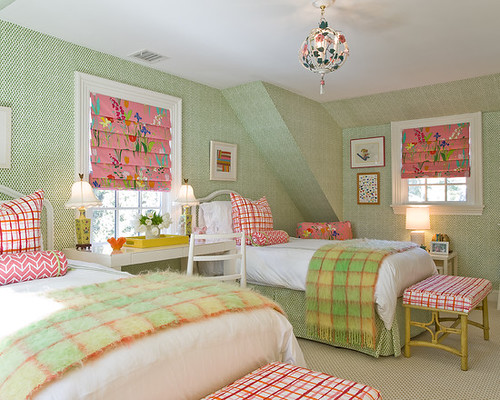 Amazing-Transitional-Kids-Good-Room-Ideas-For-Teenage-Girls-Preppy-Pink-And-Green-Bedroom-Was-Domain-The-Chairs-Beds-And-Wallpaper-Are-All-Vintage-A-Throwback-Midcentury