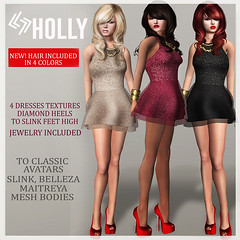 LEGENDAIRE HOLLY DRESS WITH HAIR HEELS AND JEWELRY