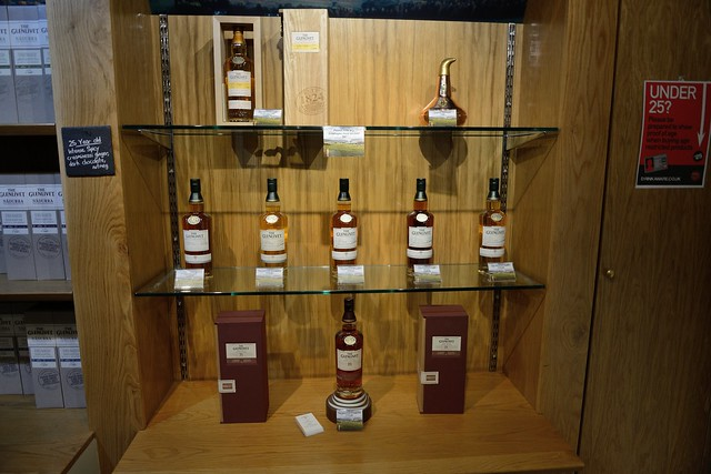 218-20160726_The Glenlivet Distillery-Banffshire-Visitor Centre-display of expensive single matl whiskies