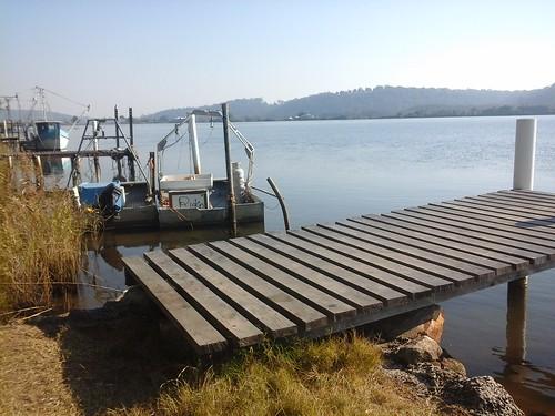 Jetty with fishing boats at Maclean NSW 20140712_141321