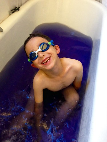 Purple Bath and Goggles