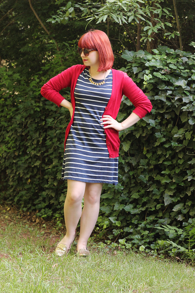 Navy Blue Striped Cotton Dress, Red Boyfriend Cardigan, and Gold Glitter Loafers