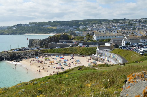 Looking down on Porthgwidden beach