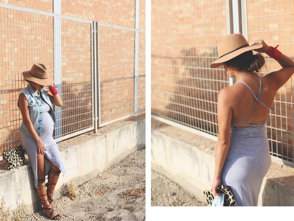 DEF vestido largo gris