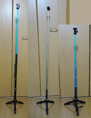 高級自撮り棒コールマンCVSS-6の三脚の長さの比較