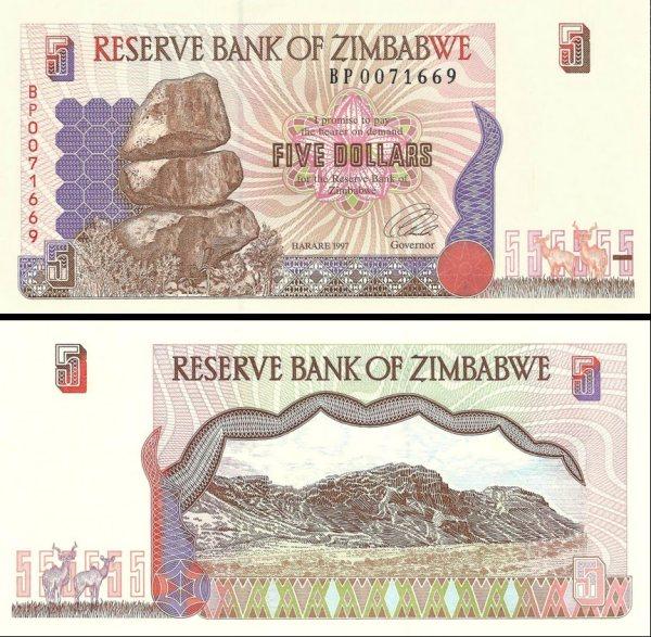 5 Dolárov Zimbabwe 1997, Pick 5a