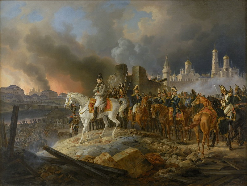 Napoleon in burning Moscow, by Adam Albrecht