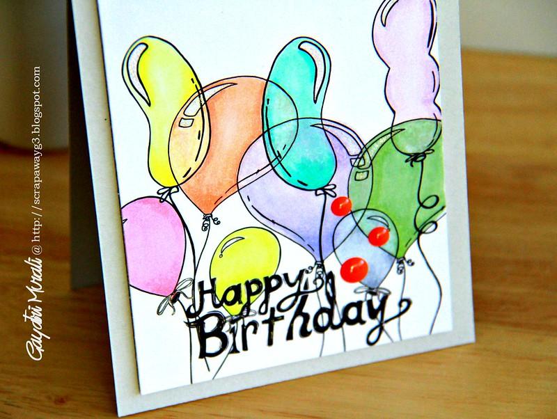 Happy Birthday balloon card closeup