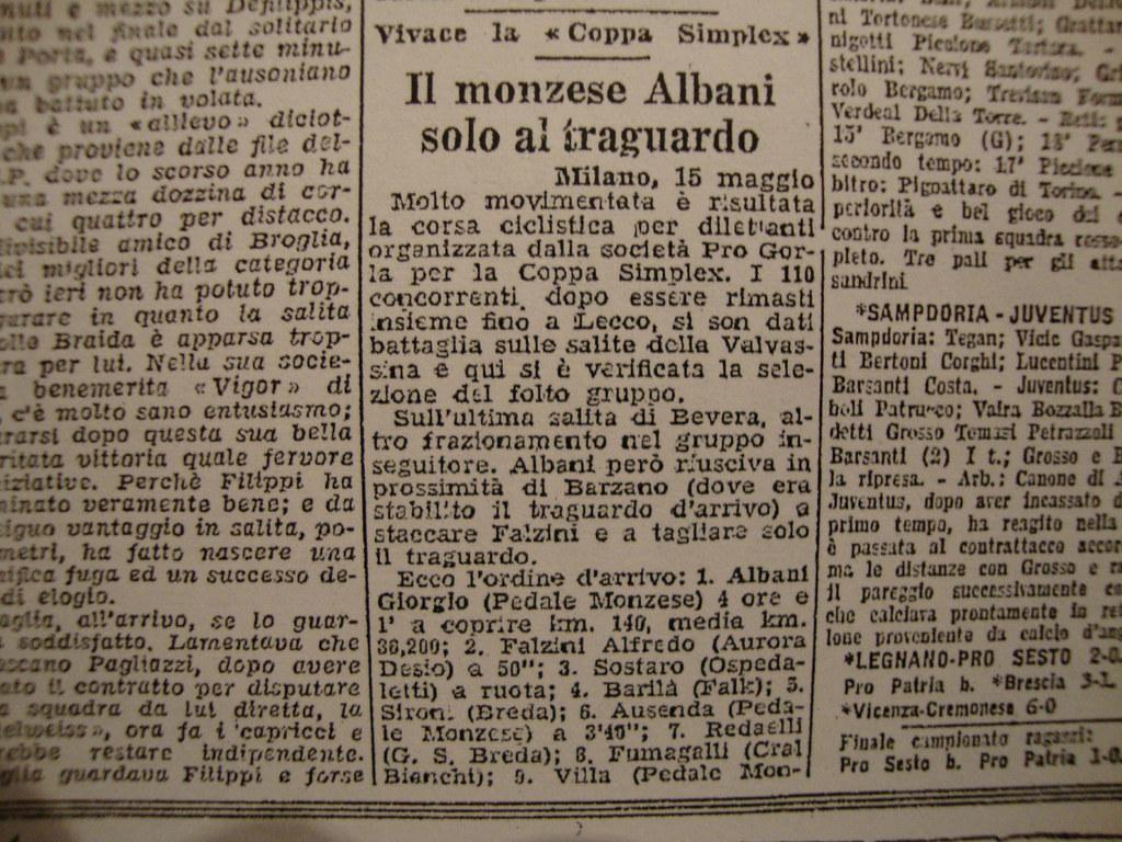 15-5-1949 - Il monzese Albani vince la Coppa Simplex