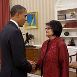 100 Years at the Arvada Center - President Barack Obama meets with Elouise Cobell in the Oval Office, Dec. 8, 2010. (Official White House Photo by Pete Souza)