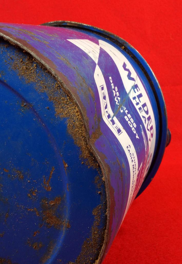 RD7979 Vintage Original Eagle Welded 24 Gauge Steel Blue 1 Gallon Oil Can DSC08058