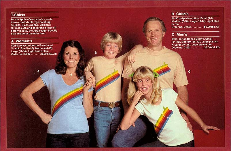 "1983 Apple T-Shirt Ad showing a Stylin' ""Apple Family"""