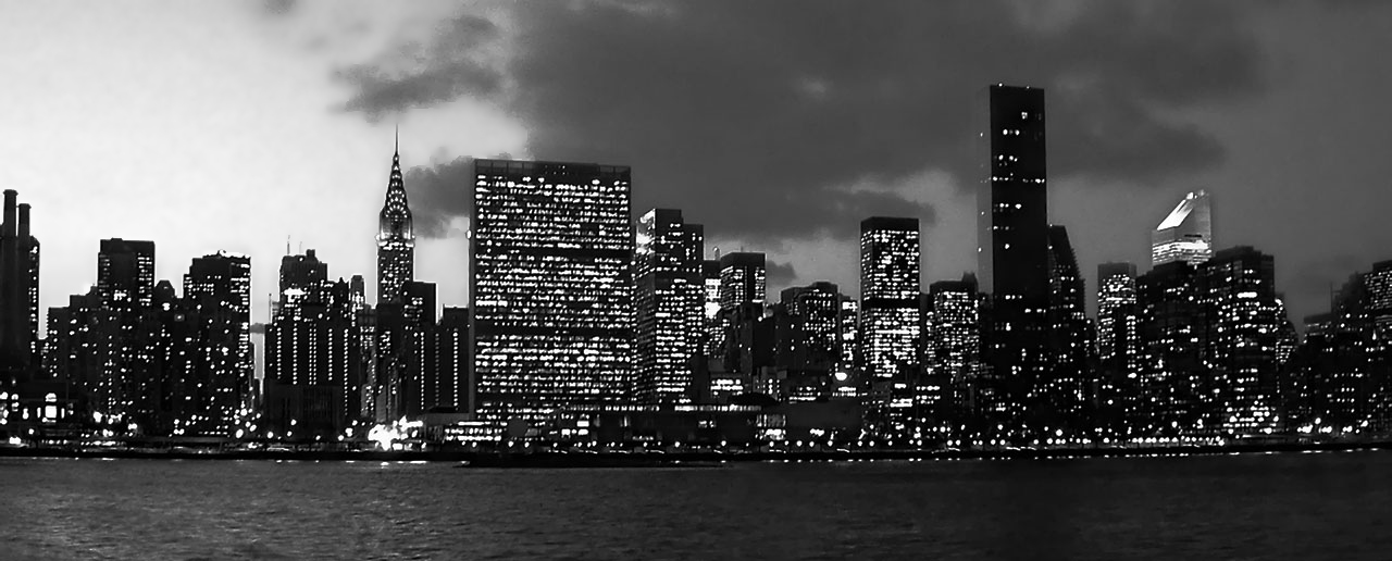Skyline of New York City taken on Feb  4  2003 New York Skyline At Night Black And White