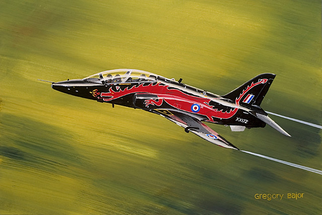 RAF British Aerospace Hawk T1 in low pass of Welsh valley - gouache painting on paper.