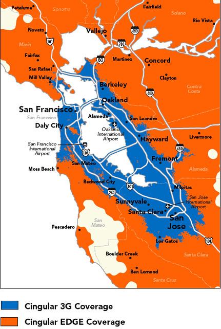 Cingular Bay Area 3G coverage