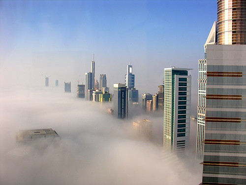 Fog at sunrise in Dubai