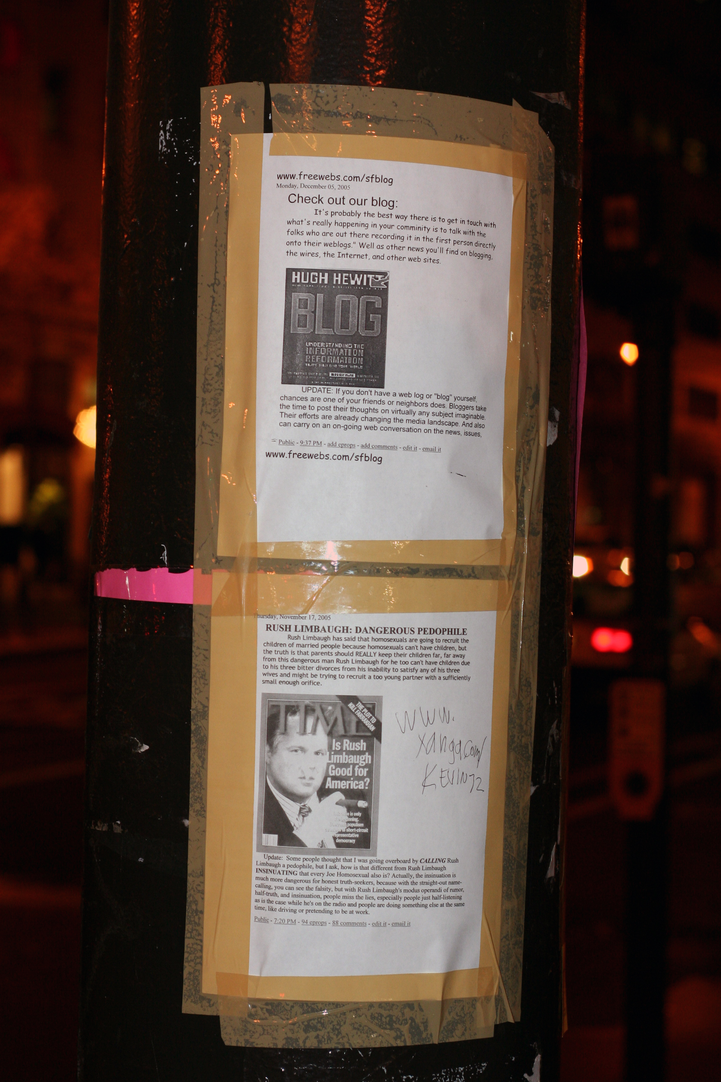 Blog posts on a lamp post