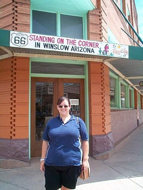 debbie standing on the corner in winslow arizona it 39 s fro flickr photo sharing. Black Bedroom Furniture Sets. Home Design Ideas