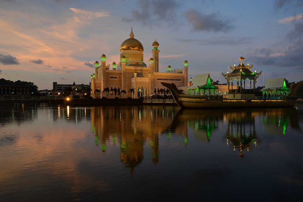 The golden domed Sultan Omar Ali Saifuddin Mosque