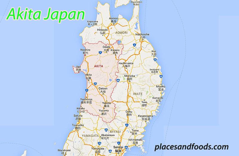 akita japan map