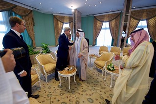 Secretary Kerry Greets UAE Foreign Minister bin Zayed