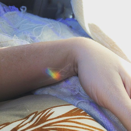 Rainbow prism appearing like a little benediction over scars on top of scars. Today, I let myself rest. I've been burning with fever and plagued by cedar, and so I welcome in the year from my bed. I've been working so hard hard hard. Now I am surrendering