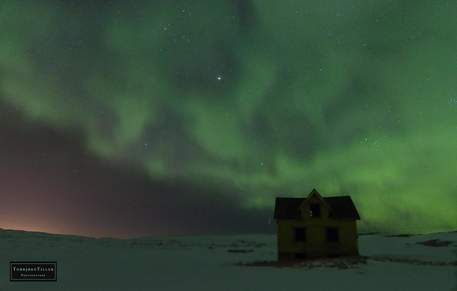 Haunted house under the northern lights