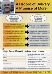 Leaflet for Peter Barrett, Scottish Liberal Democrat candidate for Perth and North Perthshire